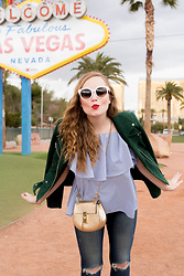 Ashley Hutchinson - Veda Green Suede Moto Jacket, Shein Blue Ruffle Off The Shoulder Blouse, Chloé Gold Chloe Drew Bag, J Brand Ripped Skinny Jeans, Céline White Sunglasses - Welcome to Vegas