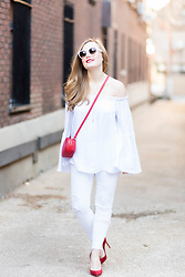 Ashley Hutchinson - Forever 21 Red Leather Crossbody Bag, Shein White Off The Shoulder Blouse, J Brand White Skinny Jeans, Gianvito Rossi Red Suede Pumps, Céline White Sunglasses - White & Red