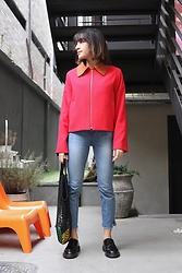 Samia Liamani - 38comeoncommon Red Jacket, Min&Mia Net Bag, Dr. Martens Mono - Red Roses