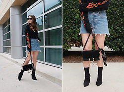 Taylor Smith - Urban Outfitters Top, Levis Denim Skirt, Chloé Chloe Faye Bag, Tony Bianco Boots - Denim Skirt and Flames