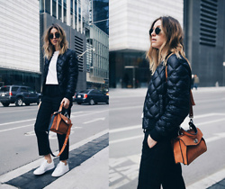 Jillian Lansky - Aritzia Bomber Jacket, Proenza Schouler Camel Bag, Adidas All White Stan Smith - ATHLEISURE
