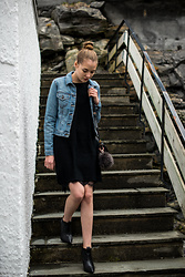Monika C. - Topshop Jean Jacket, Vila Sweater - Black sweater dress