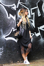 Lily Chelmey - Mango Biker, Su Shi Bag, Only Dress, Adidas Sneakers - Slip Dress