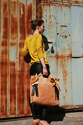 Ana - Babo Ba Boom Handcrafted Tote By, Tom Tailor Yellow Sweater - Handcrafted bag by Babo Ba Boom