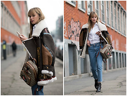 Anastasiia Masiutkina - Burberry Leather Jacket, Gucci Backpack, H&M Jeans, Valentino Boots - Last cold days