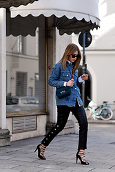 Swantje Sömmer | OffwhiteSwan - Mango Pants, Na Kd Heels - Retro Denim Jacket, Leather Pants & Lace Up Heels