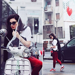 Natasha Karpova - Adidas Sneakers, David Jones Bag, Adidas Equipment T Shirt, Oodji Velvet Leggins - 1st OOTD FROM MILAN FW
