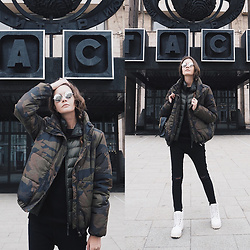 Anna Brain - Yoins Jacket, Vintage Sunglasses, Timberland Boots, Zaful Leather Satchel, Uniqlo Vest, Asos Jeans - CAMOUFLAGE EQUIPMENT