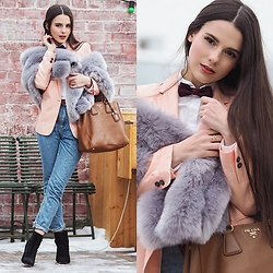 Yana P - Light In The Box Faux Fur, Blazer, Forever 21 Mom Jeans, Etsy Bowtie - Oversized Faux Fur