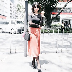 Cassey Cakes - Topshop Crop Top, Topshop Pleated Culottes, H&M Sheer Top - Sheer Here