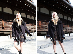 Erica Davidge - Just One Answer Faux Shearling Moto Coat, For Love And Lemons Florence Mini Dress - Kyoto Dreaming