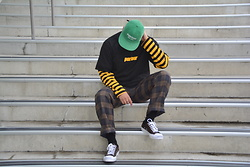 Miguel Valero - Supreme Cap, Parlour Tee, Checkered Pants, Converse Jack Purcell - Stripes and check