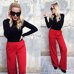 Cris M. - Bershka Sweater, Bershka Wide Leg Pants, House Of Harlow 1960 Sunglasses - How to Wear Wide Leg Pants
