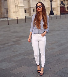 Aliz M - Zara Striped Shirt, Zara White Pants, Zara Strap Heels - STRIPED