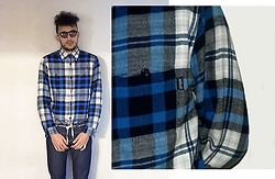 Mohamed Samaras - Stussy Classic Plaid, A.P.C. Small New Standard Japanese Raw Stretch Denim, Asos Vintage Round Sunglasses - Stüssy