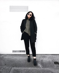 Tiffany Wang - Acne Studios Ankle Boots, H&M Sweater, Ray Ban Sunglasses - GREEN IS SERENE