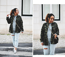 Mafalda M. - Chic Me Came Jacket, Parfois Black Classic Bag, Primark Checked Jumper, Pull & Bear Light Blue Ripped Jeans, Primark Silver Loafers - CAMO JACKET AND SILVER SHOES