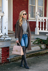 Meagan Brandon -  - Oversized Jacket & Over-the-Knee Boots