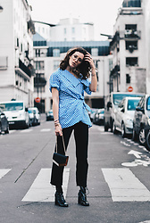 Laugh of Artist - Asos Vichy Top, Sandro Bag, Levis Jean, Urban Outfitters Boots - Vichy