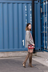Arielle - Aritzia Grey Wool Sweater, Call It Spring Grey Khaki Over The Knee Boots, Mango Pink Leather Skirt, Zara Red Contrast Bag - Common Ground