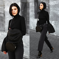 CLAUDIA Holynights - Shein Bell Sleeves Turtleneck, Vipme Circle Bag, Na Kd Cropped Jeans, Ego Patent Boots - Bell sleeves and cropped jeans