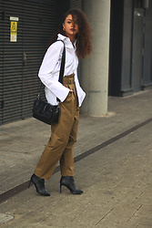 Charnelle Gardiner - Asos White Shirt, Mango Utility Trousers, Topshop Black Faux Leather Crossbody Bag, H&M Black Stiletto Boots - Modern Utility