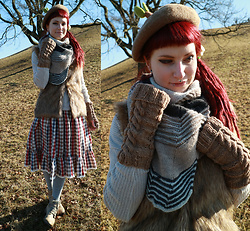 Rabbit Heart - Diy Skirt, Diy Ah Caramel Mittens, Diy Building Blocks Shawl, Taobao Beret, C&A Faux Fur Vest - Winter's End