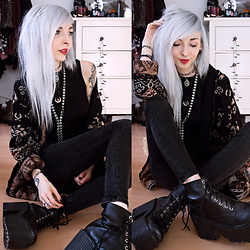 Kimi Peri - Shop Dixi Howling Moon Choker, Vii & Co. Vegan Platform Boots, Tally Weijl Black Jeans, Vintage Cardigan, Choker, Shop Dixi Imperial Black Opal Silver Moon Bolo, Shop Dixi Moon's Elixir Waterfall Drop Necklace - Running With The Wolves