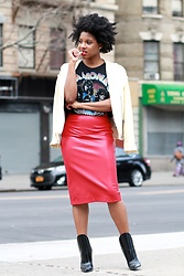 Monroe Steele - Zara White Leather Jacket, Zara Red Faux Leather Skirt, Zara Ramones Top, Wang Boots - Ramones & Red Leather