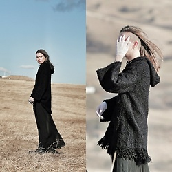 Laura Gal - Terranova Black Long Skirt, Yalaisi Black Sweater, White Gloves - Warmth