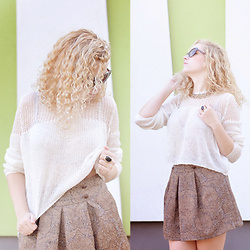 Iga Parker - Gina Tricot White Sweater, Atmosphere Jacquard Skirt - White & brown