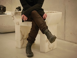 Bennett Wildauer - Rick Owens Drkshdw Scuba Boot, Julius Zipper Cargo, Julius Draped Cardigan, Haider Ackermann High Neck Sweater - Musing in Rick Owens NYC