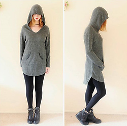 Rachel-Marie - Unbranded Tattoo Choker, Romwe Olive Green Curved Dip Hem Hoodie With Pocket, Shein Black Scallop Waist Skinny Ankle Pants, Unbranded Black Sneaker Wedges - Do It Big