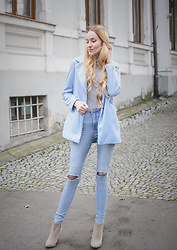 Aleksandra D - Coat, Forever 21 Jeans - Baby Blue Coat - LightInTheBox.com