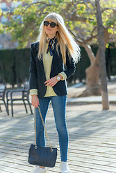 Tijana J.D - Dolce & Gabbana Black Cateye Sunglasses, Primark Navy Scarf, Mango Navy Blazer, Primark Yellow Sweater, Lord Timepieces Golden Watch, H&M Blue Skinny Jeans, Vintage Navy Bag, Esprit White Sneakers - Master your destiny