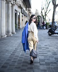 EmerJa Design - Mango Coat, Zara Top, Zara Pants, Clarks Pumps - High waist and blue