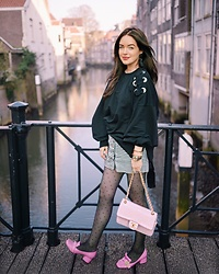 Lucila LC - Loavies Dior Check Skirt, Chanel Pale Pink Distressed Leather Herringbone Bag, Gucci Pink Marmont Shoes - Girls gona Loavies