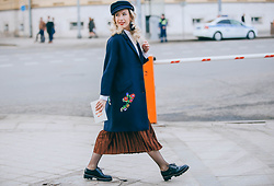 Margarita Maslova - Zara Coat, Zaful Velvet Skirt, Charlotte Olympia Clutch - MOSCOW FASHION WEEK