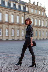 Lary Rauh - Zara Short Black Leather Jacket, Lary Rauh Embroidered Black And Red Ripped Jeans, Massimo Dutti Black Leather Boots, Hallhuber Black Cross Body Bag, Skagen Denmark Delicate Watch - NOT SO SIMPLE SIMPLICITY