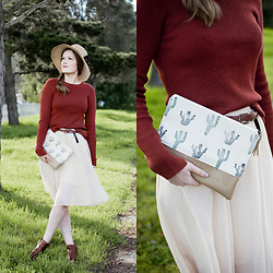 Emily S. - H&M Sweater, No Brand Midi Skirt, Lucky Brand Ankle Boots, Etsy Clutch, No Brand Sun Hat - Cactus Print
