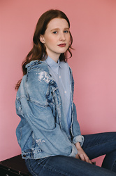 Jillian Bennett - Levis Jean Jacket, Urban Outfitters Blouse - Cotton Candy Pink