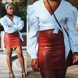 Enny Odeniyi - Zara Puffy Sleeve Wrap Top, Missguided Red Leather Skirt, New Look Multi Strap Shoes, Jmapparel Sunflower Scarf - Leather and puff