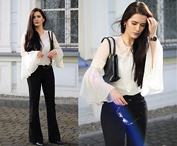 Justyna Lis - New Look Flare Pants, Zara Leather Boots, Zara Leather Bag, Bershka Bell Sleeve Top - Bell sleeve lover