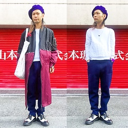 @KiD - Newyork Hat Perple Beret, Toga Magical Triangle, Qfd White Sweats, Qfd 凹凸 Blue Pants, Sasu Kauppi Big Bomber Jacket, Jeffrey Campbell Shoes Crazy Paint Tote Bag, Dr. Martens Wing Tip Combi Shoes - Japanese Trash117