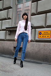 Paz Halabi Rodriguez - Pixie Market Bell Sleeves Sweater, H&M High Waisted Jeans, Mango Patent Leather Boots - Think Pink!