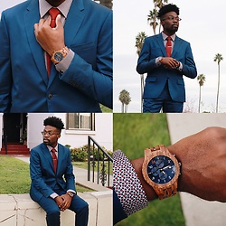 Vernon M. - Jord Watches, Perry Ellis Blue Suit - ENTER TO WIN $100 COUPON TOWARD JORD WATCH!