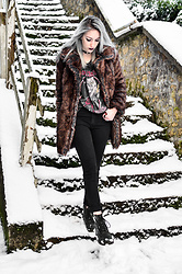 Saskia B. - Iron Maiden Band Tee, Asos Faux Fur Coat, Cheap Monday High Waisted Jeans, Dr. Martens Old - Iron Maiden.