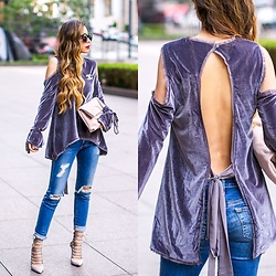 Sasa Zoe - Velvet Top, Less Than $60 Clutch, Jeans, Heels, Sunglasses - VELVET LUXE