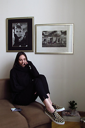 Anna Puzova - Zaful Sweatshirt, H&M Pants, Ali Express Slip Ons - BLACK SHADED EXCELLENCE