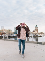 Justin Price - Forever 21 Light Wash Denim Jeans, Forever 21 Kimono Hoodie, H&M Burgundy Bomber, Rue 21 Pink Wash Ballcap, Adidas Beige Alphabounce - Priceless